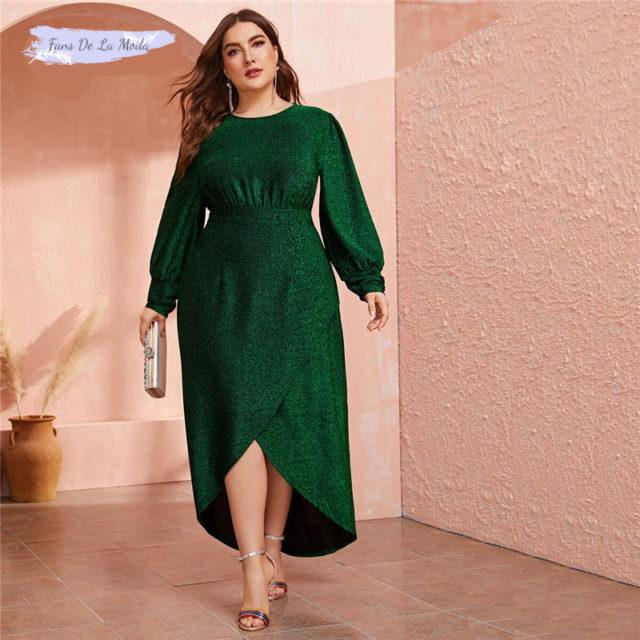 SHEIN de talla grande verde linterna manga Wrap Dip Hem Glitter Maxi Vestido Mujer otoño alta cintura una línea glamurosos vestidos de fiesta