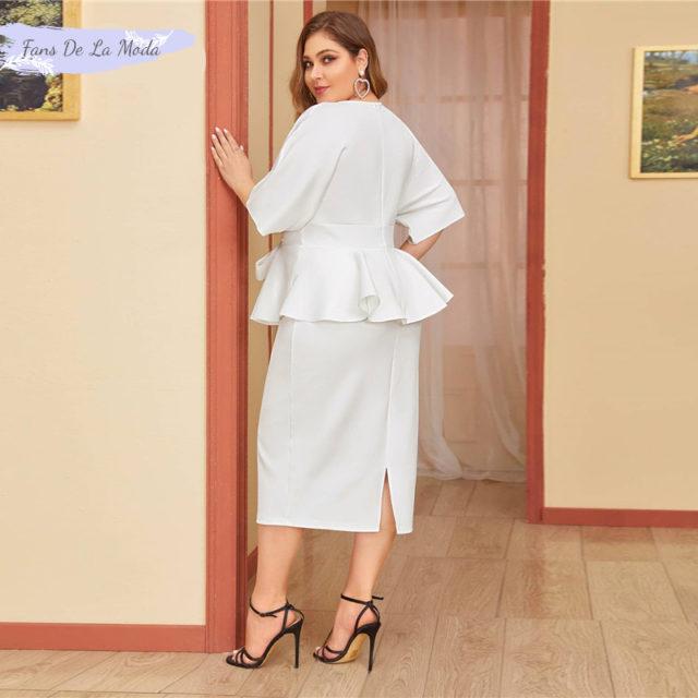 SHEIN de talla grande blanco Plunging Neck Dolman manga corbata cintura Peplum Vestido Mujer sólido hendidura alta en la cintura ceñido elegante vestidos