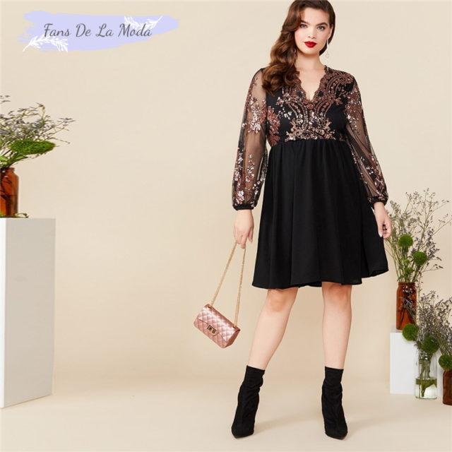 SHEIN de talla grande negro cuello en V Floral contraste lentejuelas malla manga Flare Vestido Mujer verano otoño glamuroso fiesta una línea vestidos