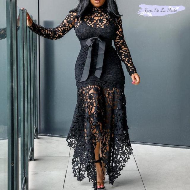 Vestido largo de encaje negro Sexy de fiesta Vintage más gran tamaño grande M-XXXL 4XL mujeres malla hueco ajustado azul africano Maxi vestido de las señoras