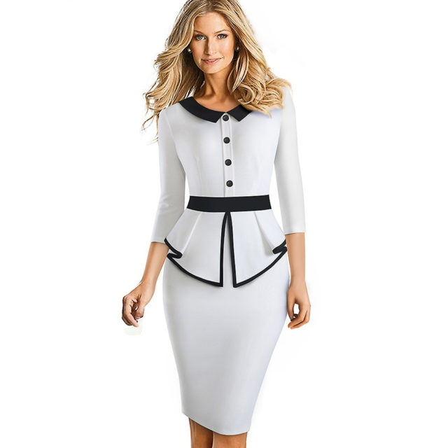 Nice-Forever Elegante contraste de Color de retazos de oficina con volantes de fondo vestidos de negocios Formal de invierno Bodycon mujeres vestido B558