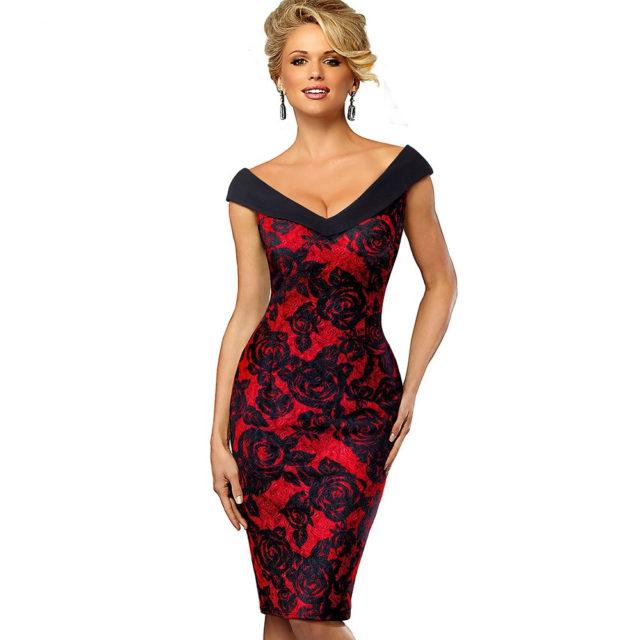 Nice-forever Vintage contraste de Color elegante flor Sexy fuera del hombro vestidos de fiesta de negocios ceñido al cuerpo vestido de mujer B425