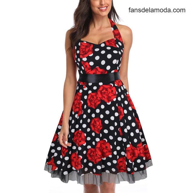 Vestido De fiesta OTEN 4XL para mujer, estampado De calaveras, encaje Floral De retales con lunares, Vestido retro vintage Rockabilly, ropa De verano