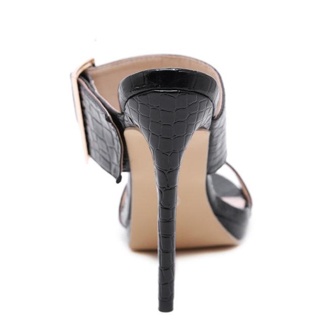 Aneikeh, moda 2020, sandalias sexis de gladiador de verano de PU para mujer, sandalias finas de tacón alto, sandalias con punta abierta, vestido negro, talla 35-40