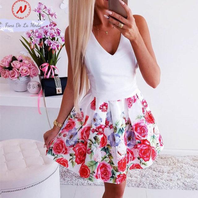 Vestido de verano con estampado floral de corte a con cuello redondo y cuello en V sin mangas para mujer